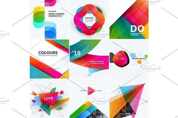 Set Of Abstract Vector Design For Graphic Template Creative Modern Business Background With Geometric Shapes