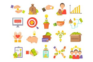 Crowdfunfing Icons Collection Vector Illustration