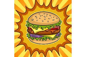 Burger sandwich pop art vector illustration