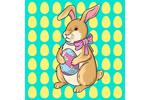 Easter bunny with egg pop art vector illustration