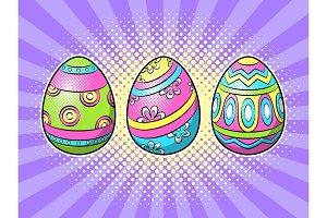 Easter eggs pop art vector illustration