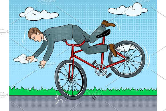 Man Falling Of Bicycle Pop Art Vector Illustration