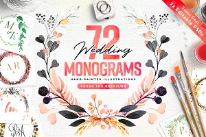 -80% BUNDLE: 72 Watercolor Monograms