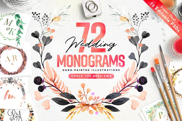 -80% BUNDLE: 72 Watercolor Monogram…
