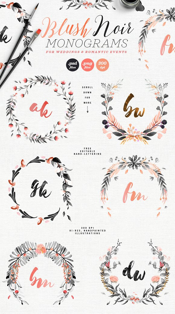 -80% BUNDLE: 72 Watercolor Monograms in Illustrations - product preview 4