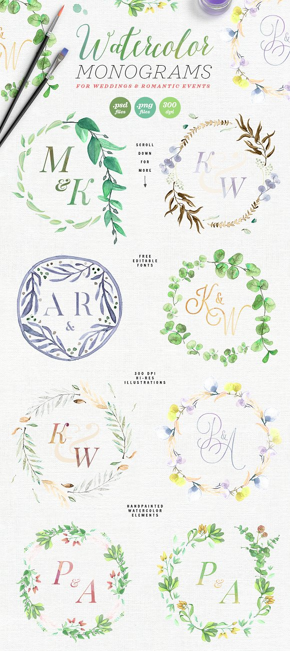 -80% BUNDLE: 72 Watercolor Monograms in Illustrations - product preview 1