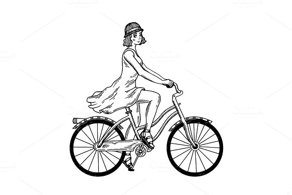 Young Woman Ride On Bicycle Engraving Vector