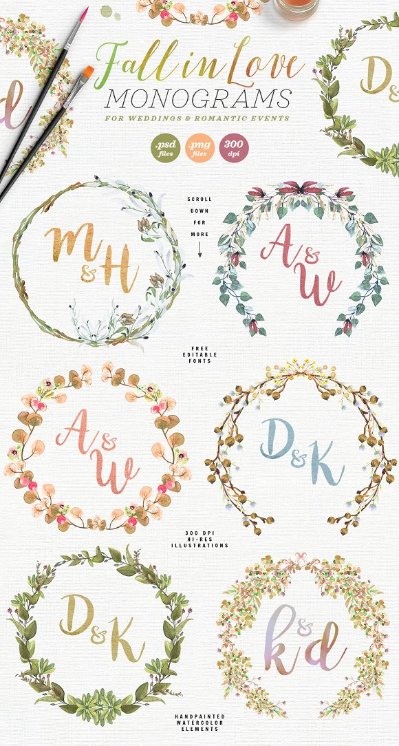-80% BUNDLE: 72 Watercolor Monograms in Illustrations - product preview 5