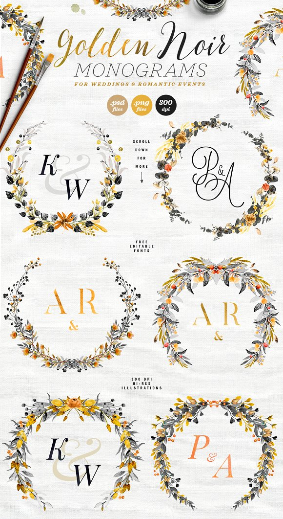 -80% BUNDLE: 72 Watercolor Monograms in Illustrations - product preview 9