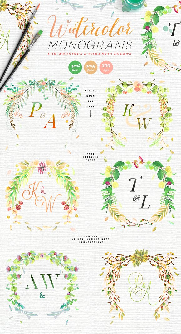 -80% BUNDLE: 72 Watercolor Monograms in Illustrations - product preview 3