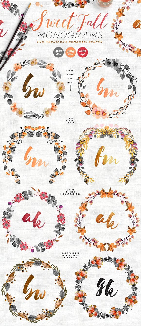 -80% BUNDLE: 72 Watercolor Monograms in Illustrations - product preview 10