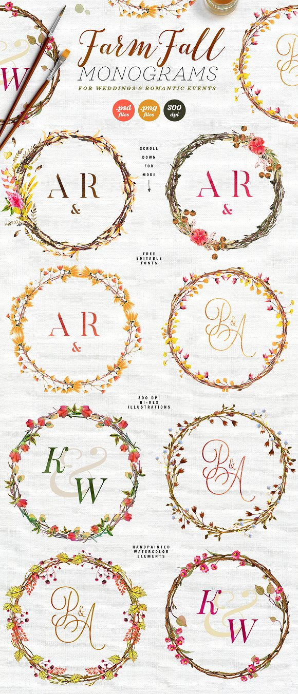 -80% BUNDLE: 72 Watercolor Monograms in Illustrations - product preview 8