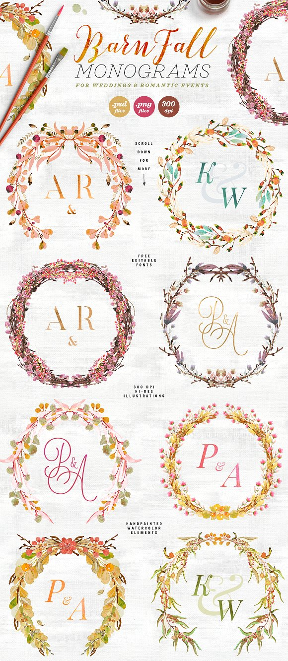 -80% BUNDLE: 72 Watercolor Monograms in Illustrations - product preview 7