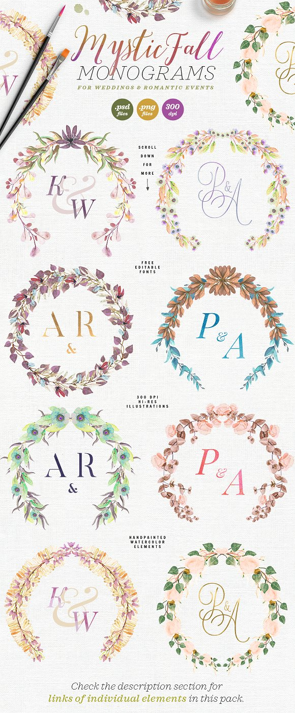 -80% BUNDLE: 72 Watercolor Monograms in Illustrations - product preview 6