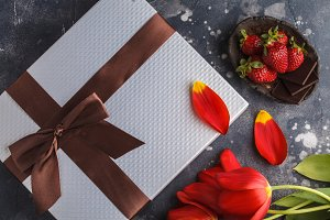gift box and flowers background