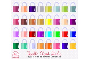 40 Colorful Padlock Clipart