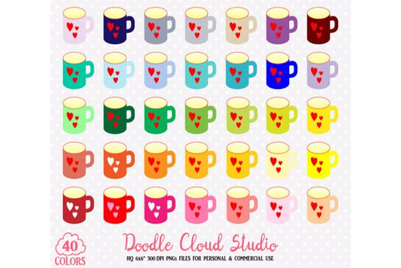 40 Colorful Mugs Clipart Rainbow