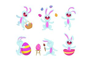 Easter rabbits in cartoon style