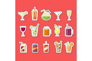 Vector stickers set with alcoholic drinks in glasses and bottles in flat style elements