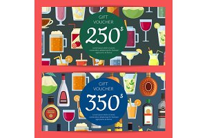 Vector gift voucher or discount card template with alcoholic drinks in glasses and bottles in flat style