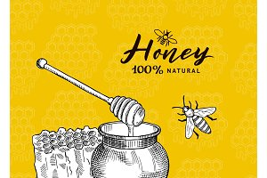 Vector background with sketched contoured honey theme elements on honeycombs background