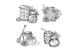 Vector piles of hand drawn honey elements set