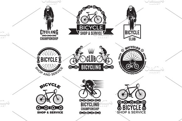 Labels Set For Bicycle Club Velo Sport Logos Design