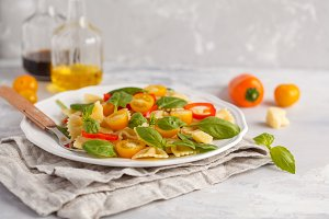 Italian pasta farfalle salad with ve