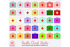 40 Colorful First Aid Kit Clipart