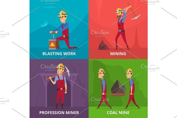 Concept Illustrations Of Miners Characters At Work