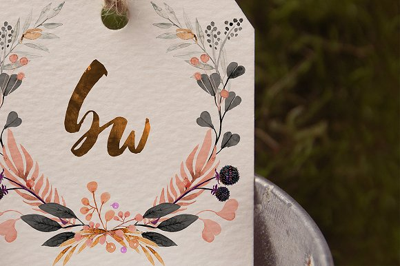 -80% BUNDLE: 72 Watercolor Monograms in Illustrations - product preview 14
