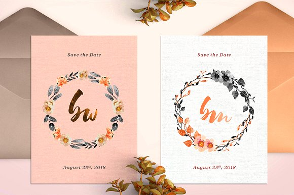 -80% BUNDLE: 72 Watercolor Monograms in Illustrations - product preview 16