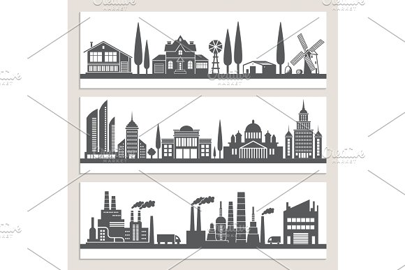 Set Of Horizontal Banners With Monochrome Illustrations Of Urban Landscapes Silhouette Of Modern Buildings