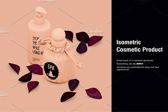 Isometric Cosmetic Product Mock-up