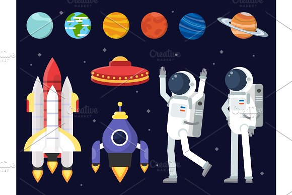Set Of Planets Space Shuttles And Astronauts In Flat Style