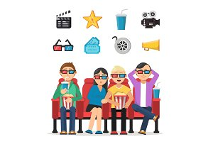 Characters set of funny peoples watching film in cinema