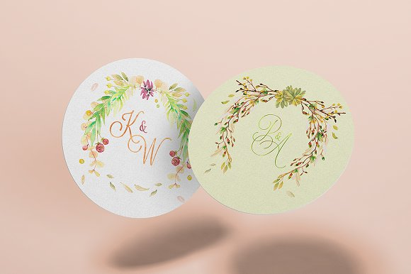 -80% BUNDLE: 72 Watercolor Monograms in Illustrations - product preview 23