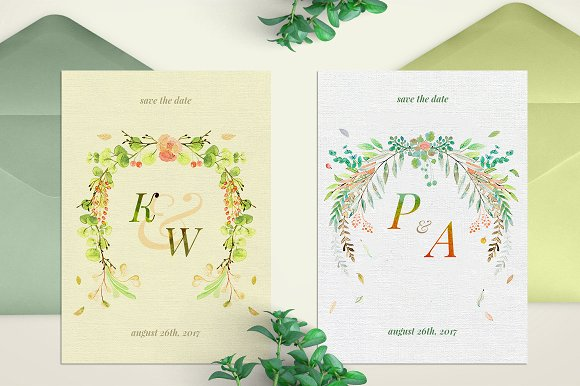 -80% BUNDLE: 72 Watercolor Monograms in Illustrations - product preview 24
