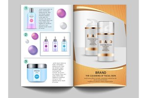 Design template of magazine. Vector pictures of cosmetics bottles and place for your text