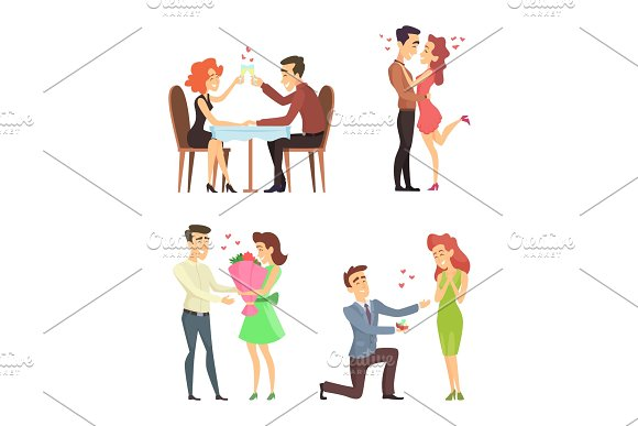 Lovely Couples Funny Characters Romantic Male And Female Illustrations For Valentines Day