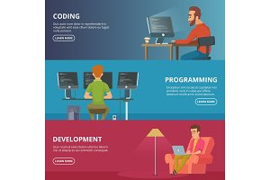 Horizontal banners with illustrations of designers and programmers