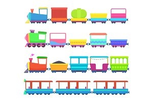 Childrens toys. Miniatures of colored cartoon trains