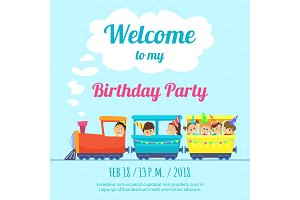Design template of poster for kids party invitation. Illustration of train toys