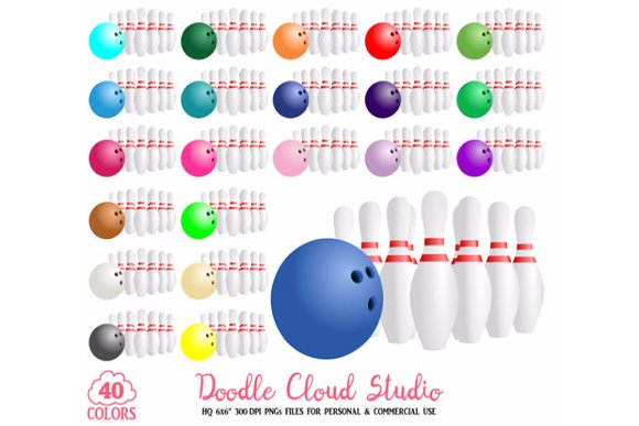 40 Colorful Bowling Clipart Sport
