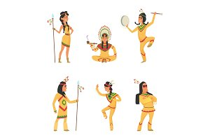 Native american indians. Cartoon characters set in vector style