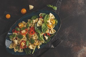 Italian pasta farfalle salad