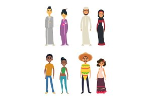 Worldwide group of international peoples in cartoon style