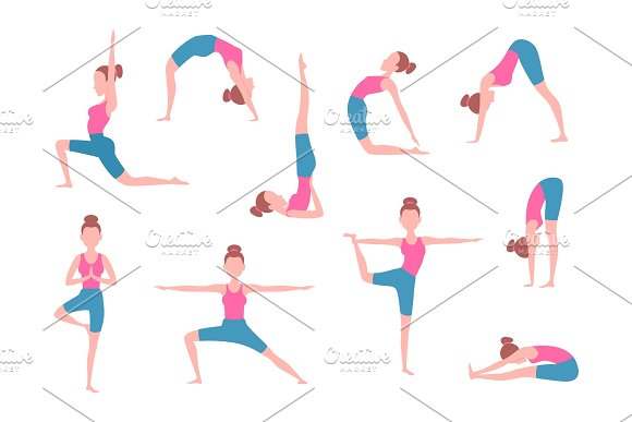 Female Making Yoga Exercises In Different Poses