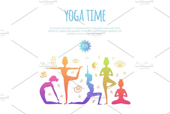 Fitness Illustrations With Different People Making Yoga Practice