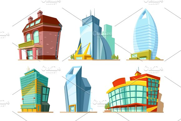 Set Of Different Modern Buildings In Cartoon Style